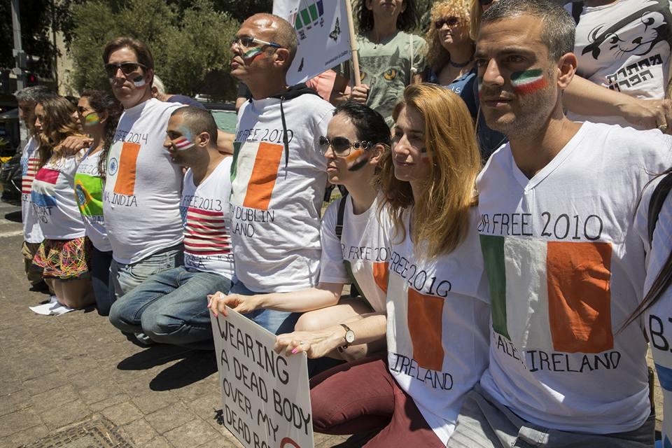 הפגנה בתל אביב של הקואליציה הבינלאומית נגד פרוות. על חולצות המפגינים דגלי מדינות ושנים בהן נחקקו חוקים ותקנות נגד פרוות.